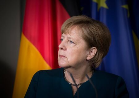 GRANSEE, GERMANY - May 20, 2017: Chancellor of the Federal Republic of Germany Angela Merkel during a joint briefing with President of Ukraine Petro Poroshenko Editorial