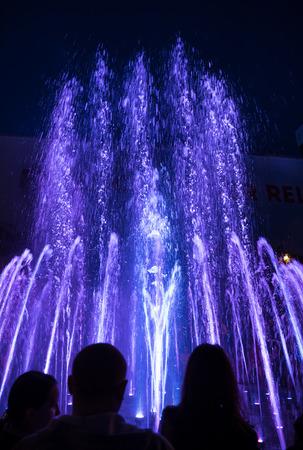 KIEV, UKRAINE - May 06, 2017: Kiev musical fountains. Light and Music Fountains on Maidan Nezalezhnosti (Independence square) in Kiev city at night