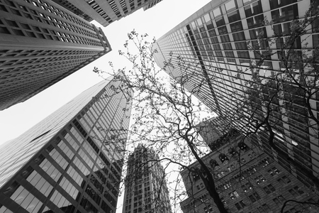 NEW YORK, USA - Apr 28, 2016: Black and white image of Manhattan modern architecture. Manhattan is the most densely populated of the five boroughs of New York City