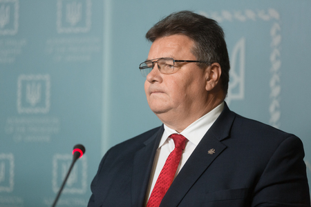 statesman: KIEV, UKRAINE - Jun 15, 2017: Linas Linkevicius - Lithuanian statesman, politician, diplomat, Minister of Foreign Affairs of the Republic of Lithuania during a briefing in Kiev Editorial