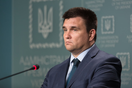 KIEV, UKRAINE - Jun 15, 2017: The Minister of Foreign Affairs of Ukraine Pavlo Klimkin during a briefing in Kiev Editorial