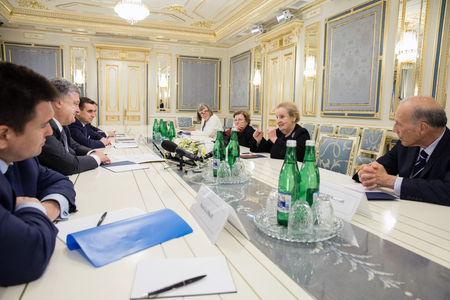 delegation: KIEV, UKRAINE - Jun 16, 2017: President of Ukraine had a meeting with the delegation of U.S. National Democratic Institute headed by Board Chairman, former U.S. Secretary of State Madeleine Albright