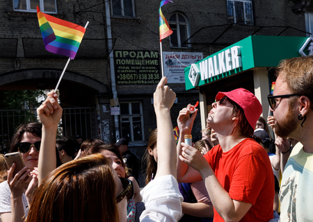 sexual orientation: KIEV, UKRAINE - June 18, 2017: Pride Parade In Kiev. Ukrainian gay rights activists take part in a march. Thousands of people marched in support of LGBT rights and equality in Ukraine