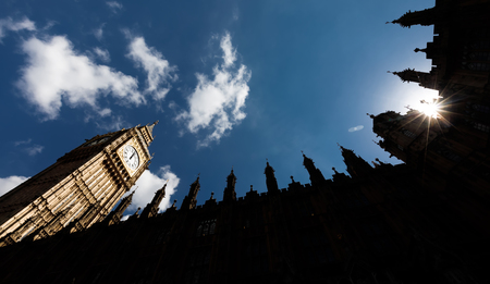banned: LONDON, UK - Apr 19, 2017: Big Ben (Elizabeth Tower) stands at the north end of the Palace of Westminster the meeting place of House of Commons and House of Lords, two houses of the Parliament of UK Editorial