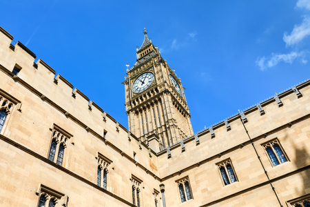 LONDON, UK - Apr 19, 2017: Big Ben (Elizabeth Tower) stands at the north end of the Palace of Westminster the meeting place of House of Commons and House of Lords, two houses of the Parliament of UK Editorial