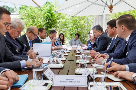 PARIS, FRANCE - Jun 26, 2017: French President Emmanuel Macron during an official meeting of the President of Ukraine Petro Poroshenko at the Elysee Palace in Paris