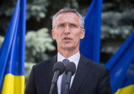 treaty: KIEV, UKRAINE - Jul 10, 2017: NATO Secretary General Jens Stoltenberg during his official visit to Kiev and meeting with the president of Ukraine