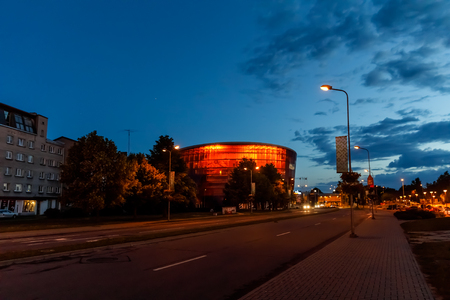 LIEPAJA, LATVIA - Jun 25, 2017: Concert hall Great Amber (LIELAIS DZINTARS) is a regional centre of culture, home to the Liepaja Symphony Orchestra, Liepaja Music, Art and Design High School at night