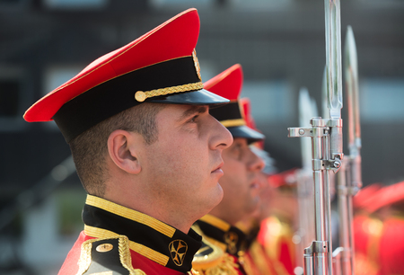 TBILISI, GEORGIA, Jul. 18, 2017: Guard of honor during state visit of the president of Ukraine Petro Poroshenko to Georgia Editorial