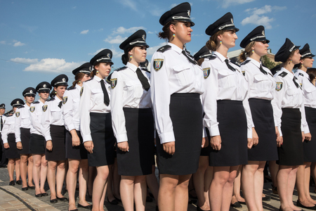 batallón: KIEV, UKRAINE - Aug 04, 2017: Law enforcers during solemn events on the occasion of the second anniversary of the creation of the National Police of Ukraine on Sofiyskaya Square, in Kiev Editorial