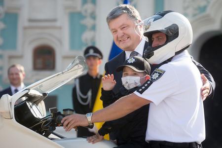 KIEV, UKRAINE - Aug 04, 2017: President of Ukraine Petro Poroshenko during solemn events on the occasion of second anniversary of creation of the National Police of Ukraine on Sofiyskaya Sq. in Kiev Editorial