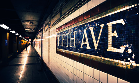 Fifth Avenue subway station mosaic sign at subway station in Manhattan