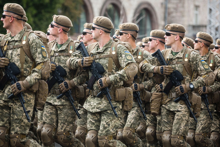 KIEV, UKRAINE - Aug 24, 2017: Army troops on the march on the occasion of Independence day of Ukraine