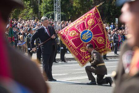 KIEV, UKRAINE - Aug 24, 2017: President of Ukraine Petro Poroshenko congratulated Ukrainians on Independence Day of Ukraine