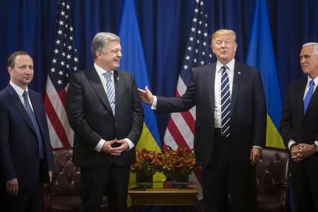 NEW YORK, USA - 21 settembre 2017: Incontro del presidente degli Stati Uniti Donald Trump con il presidente dell'Ucraina Petro Poroshenko durante il vertice ONU a New York
