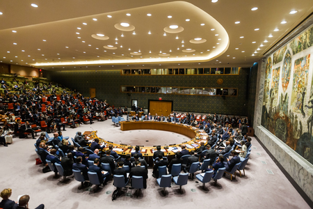 "NEW YORK, USA - Sep 20, 2017: Debates at the UN Security Council Summit ""Reforms in the sphere of UN peacekeeping: implementation and further steps"""