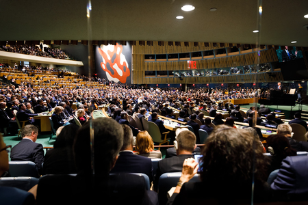 NEW YORK, Verenigde Staten - 19 sep. 2017: Conferentiezaal van de Verenigde Naties tijdens een toespraak van de president van de Verenigde Staten van Amerika Donald Trump