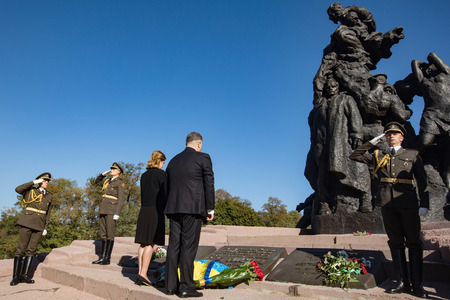 KIEV, UKRAINE - Sep. 29, 2017: President of Ukraine Petro Poroshenko and his wife Maryna Poroshenko took part in the ceremony of honoring memory of the Babyn Yar victims