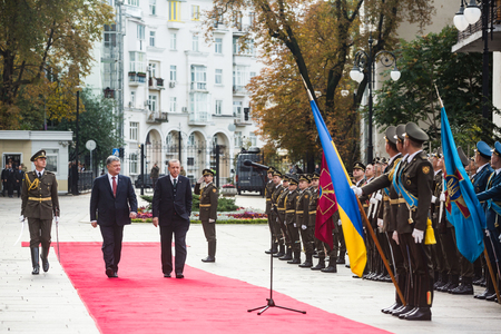 KIEV, UKRAINE - Oct. 09, 2017: Welcoming ceremony during an official visit of Turkish President Recep Tayyip Erdogan with a President of Ukraine Petro Poroshenko Editorial