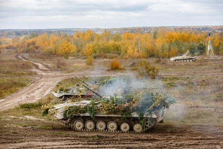 ZHYTOMYR Reg, UKRAINE - Oct. 14, 2017: Combat training of the Armed Forces of Ukraine in the training center of Zhytomyr region. Editorial