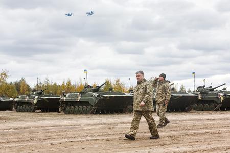 ZHYTOMYR Reg, UKRAINE - Oct. 14, 2017: President of Ukraine Petro Poroshenko at combat training of the Armed Forces of Ukraine in the training center of Zhytomyr region