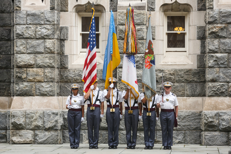 NEW YORK, USA - Sep 18, 2017: Honor guard of the United States Military Academy (USMA), also known as West Point, Army, The Academy is a four-year coeducational federal service academy