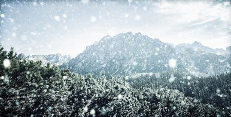Winter landscape of High Tatra Mountains. Snowfall in Tatra mountains in winter time
