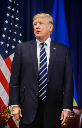 NEW YORK, USA - Sep 21, 2017: Meeting of the President of the United States Donald Trump with the President of Ukraine Petro Poroshenko in New York