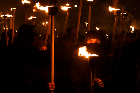 KIEV, UKRAINE - Jan. 01, 2018: Ukrainian nationalist activists mark the 109th birth anniversary of Stepan Bandera, one of the founders of the Organization of Ukrainian Nationalists (OUN)