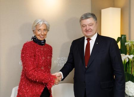 DAVOS, SWITZERLAND - Jan 24, 2018: President of Ukraine Petro Poroshenko and the director of the International Monetary Fund Christine Lagarde during a meeting, in Davos