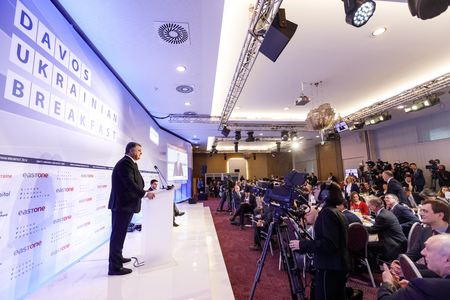 DAVOS, SWITZERLAND - Jan 25, 2018: Davos Ukrainian breakfest. President of Ukraine Petro Poroshenko at World Economic Forum Annual Meeting 2018 in Davos, Switzerland