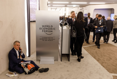 DAVOS, SWITZERLAND - Jan 26, 2018: Working moments during World Economic Forum Annual Meeting in Davos, Switzerland Editorial