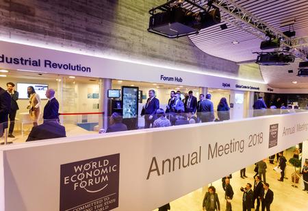 DAVOS, SWITZERLAND - Jan 24, 2018: Working moments during World Economic Forum Annual Meeting in Davos, Switzerland