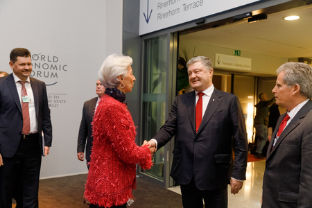DAVOS, SWITZERLAND - Jan 24, 2018: President of Ukraine Petro Poroshenko and the director of the International Monetary Fund Christine Lagarde during a meeting, in Davos