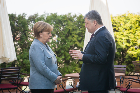 BERLIN, GERMANY - Apr. 10, 2018: Chancellor of the Federal Republic of Germany Angela Merkel during a meeting with the President of Ukraine Petro Poroshenko in Berlin Editöryel