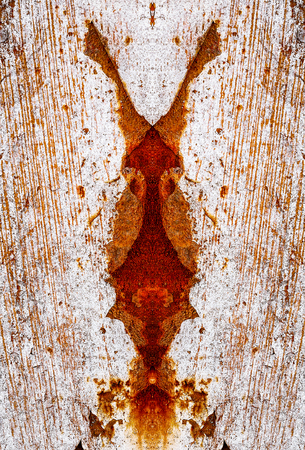 Old paint and rust. Old painted metal texture. Sheet of iron covered with rust. Grunge background.  Stock Photo