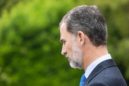 MADRID, SPAIN - Jun 04, 2018: King of Spain Felipe VI during a meeting with the president of Ukraine Petr Poroshenko Sajtókép