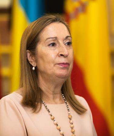 MADRID, SPAIN - Jun 04, 2018: Chairman of the Congress of Deputies Ana Maria Pastor during a meeting with the President of Ukraine Petro Poroshenko