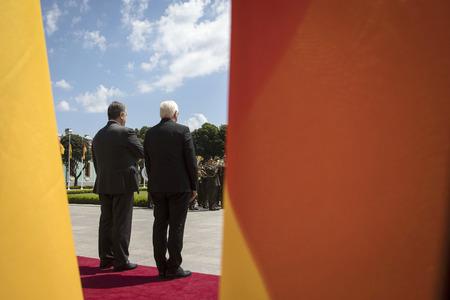 KIEV, UKRAINE - May 29, 2018: President of Ukraine Poroshenko and Federal President of Federal Republic of Germany Frank-Walter Steinmeier during official welcoming ceremony near Mariinsky Palace Sajtókép