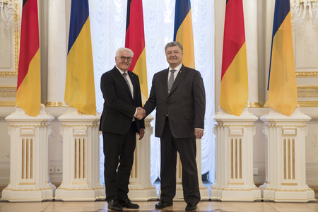 KIEV, UKRAINE - May 29, 2018: President of Ukraine Petro Poroshenko and Federal President of the Federal Republic of Germany Frank-Walter Steinmeier during a meeting at the Mariinsky Palace