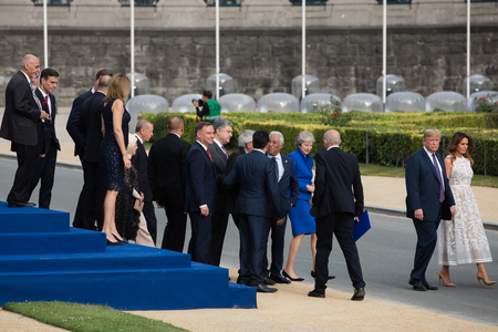 BRUSSELS, BELGIUM - Jul 11, 2018: US President Donald Trump and the First Lady of the United States Melania Trump at the summit of the NATO military alliance