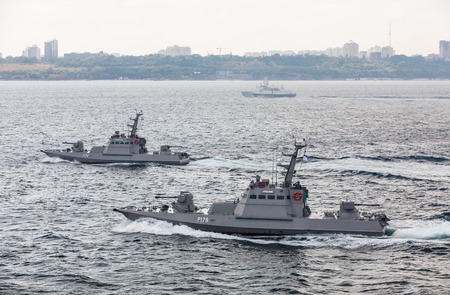 ODESSA, UKRAINE - Jul 16, 2018: Multinational maritime exercise Sea Breeze 2018, in which military personnel of NATO and partner countries takes part. Editorial