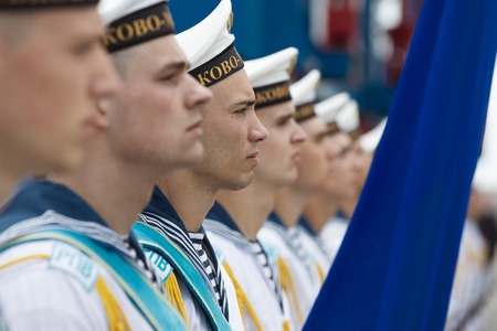 ODESSA, UKRAINE - Jul 16, 2018: Sailors of the Navy of Ukraine during Multinational maritime exercise Sea Breeze 2018, in which military personnel of NATO and partner countries takes part. Editorial