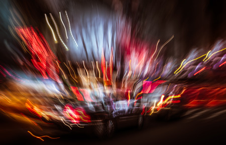 Neon City Lights. Illumination and night lights of New York City. Intentional motion blur Stock Photo