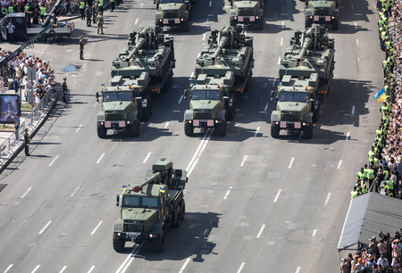 KIEV, UKRAINE - Aug 24, 2018: Military parade in Kiev. Column of military equipment and army troops on the march on the occasion of Independence day of Ukraine Editorial