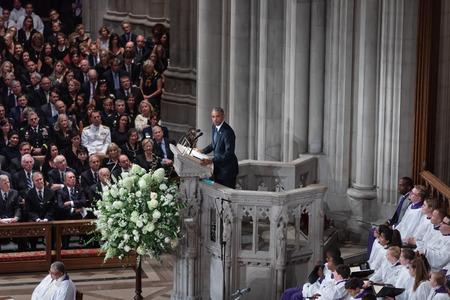 WASHINGTON D.C., USA - Sep. 01, 2018: Former U.S. President Barack Obama spoke at the Memorial service of U.S. Senator John McCain at National Cathedral in Washington, USA on September 1, 2018 新闻类图片