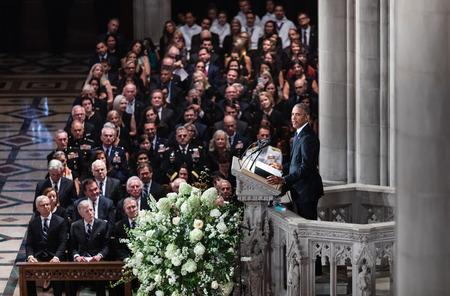 WASHINGTON D.C., USA - Sep. 01, 2018: Former U.S. President Barack Obama spoke at the Memorial service of U.S. Senator John McCain at National Cathedral in Washington, USA on September 1, 2018 Editorial