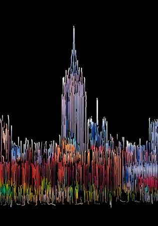 Abstract Manhattan in New York City. Midtown Manhattan skyline with Empire State Building painted by color lines on a black background