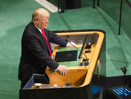 NEW YORK, USA - Sep 25, 2018: President of the United States Donald Trump during the 73th session of the UN Assembly in New York 新闻类图片