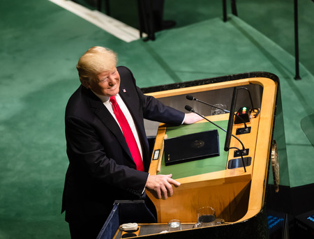 NEW YORK, USA - Sep 25, 2018: President of the United States Donald Trump during the 73th session of the UN Assembly in New York 에디토리얼